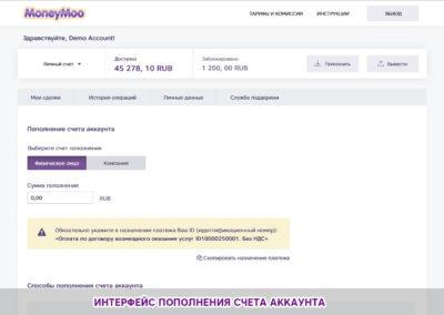 Интерфейс пополнения счета